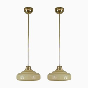 French Art Deco Cream Opaline Glass and Brass Pendants, 1930s, Set of 2