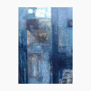Blaue Birken, Contemporary Abstract Mixed Media auf Leinwand Gemälde, 2006
