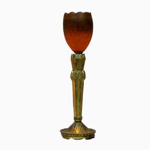 Lámpara de mesa francesa modernista en forma de flor