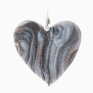 Collana a forma di cuore in calcedonio con diamante solitario