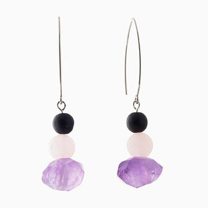 Drop Earrings - Amethyst, Rose Quartz and Onyx