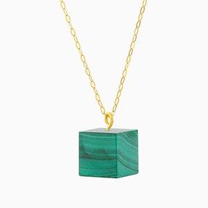 Cube Necklace - Malachite