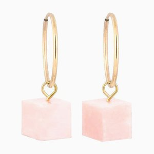 Hoop Earrings - Pink Opal