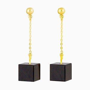 Orecchini a bottone e catena - Onice nera