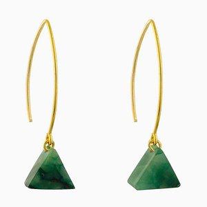 Drop Earrings - Aventurine Triangle
