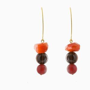 Drop Earrings - Carnelian, Smoky Quartz and Agate