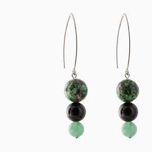 Drop Earrings - Green Zeolite, Black Onyx and Green Jasper