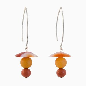 Drop Earrings in Banded Agate, Yellow Agate and Carnelian, Set of 2