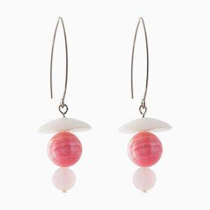 Orecchini pendenti in agata, rodocrosite e quarzo rosa