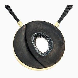 Schwarze Onyx Druzy & Diamond Halskette