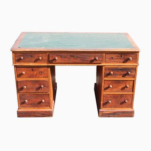 Solid Mahogany Pedestal Desk with Green Top, 1920s