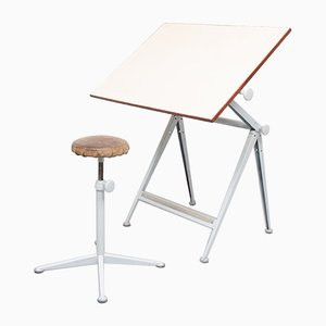 Reply Drawing Table and Matching Stool by Wim Rietveld for Ahrend De Cirkel, Set of 2