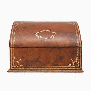 Leather Desktop Letter Holder or Box with Gold Embossing