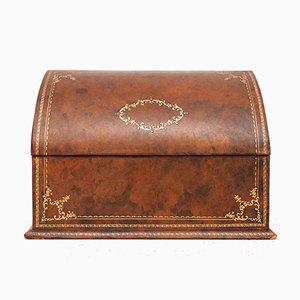Tischhalter oder Box aus Leder mit Prägung in Gold