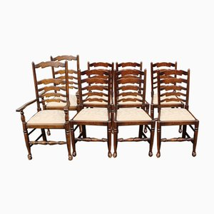 Ash Ladderback Dining Chairs, 1960s, Set of 8
