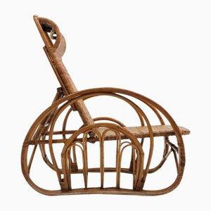Italian Rattan Recliner Armchair, 1950s