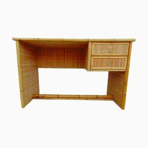 Italian Bamboo, Rattan and Brass Desk by Dal Vera, 1960s