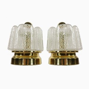 Vintage Bedside or Table Lamps with Foam Effect Hand Blown Glass Shades from Doria, 1960s or 1970s, Set of 2