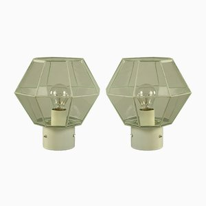 Mid-Century Metal & Glass Flush Mounts with Octagon Design from Limburg, 1960s, Set of 2