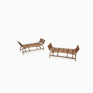 Mid-Century Rattan Benches, Set of 2