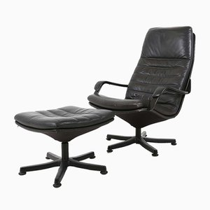 Danish Leather Lounge Chair from Berg Furniture