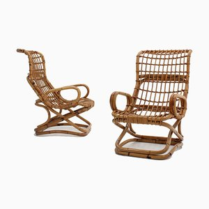 Rattan Lounge Chairs by Tito Agnoli, 1960s, Set of 2