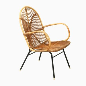 Vintage Rattan Lounge Chair from Rohé Noordwolde, 1950s