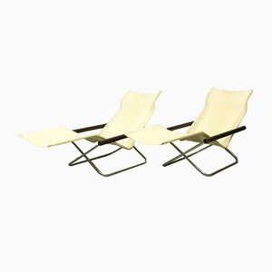 NY Foldable Chaise Longues by Takeshi Nii, Japan, 1950s, Set of 2