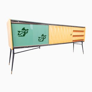 Vintage Sideboard aus Holz & Glas, 1950er