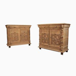 Raw Oak Side Cabinets, Set of 2