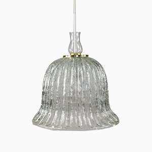Vintage Bell-Shaped Glass Pendant Lamp from Doria, 1960s