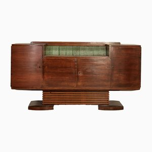 Credenza Art Deco in legno e vetro, anni '40