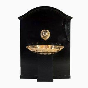 Löwenkopf Indoor Brunnen aus schwarzem Holz & Messing