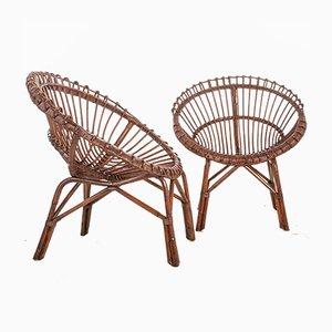 Vintage Stühle aus Korbgeflecht & Bambus, 1950er, 2er Set