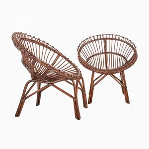 Vintage Wicker and Bamboo Chairs 1950s, Set of 2