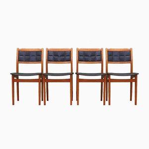 Danish Beech Chairs, 1970s, Set of 4
