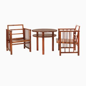 Dining Chairs & Coffee Table by Arch. Jan Vaněk, Set of 3