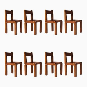 Solid Elm & Leather 'S11' Chairs by Pierre Chapo, Set of 8
