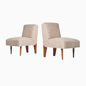 Mid-Century Modern Pony Hide and Walnut Club Chairs, Set of 2