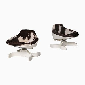 Italian Plywood 'Sella 1001' Lounge Chairs by Joe Colombo for Comfort, 1963, Set of 2