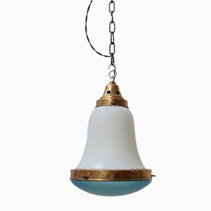 German Blue and Opaline Glass Pendant Light