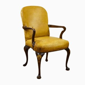 French Style Mahogany & Leather Elbow Chair, 1920s