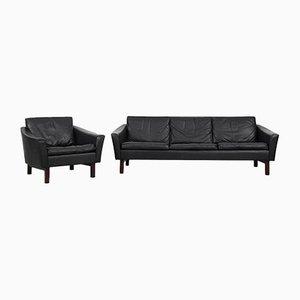 Vintage Danish Modern Black Leather Living Room Set, 1960s, Set of 2