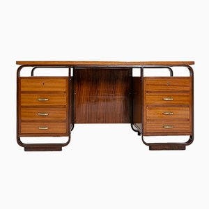 Brass and Wood Desk by Giuseppe Pagano, 1940s