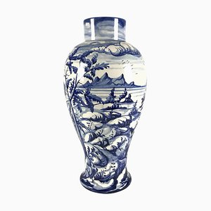 Keramikvase in Weiß & Blau aus der Familie Taccini, 1976