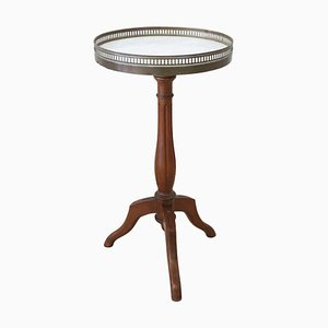 Antique Walnut & Marble Pedestal Table, 1880s
