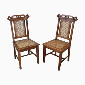 Art Nouveau Oak Wood and Wien Straw Chairs, 1910s, Set of 2