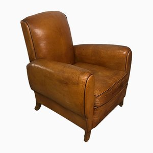 Camel Leather Club Chair, 1930s