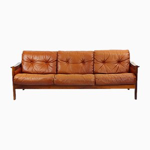 Mid-Century Cognac Leather and Rosewood Sofa, 1970s