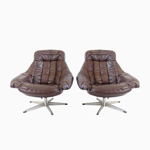 Brown Leather Lounge Chairs by H. W. Klein for Bramin, Set of 2